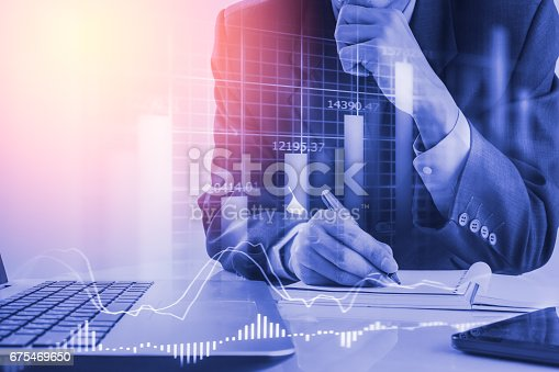 istock Double exposure business man on stock financial exchange. Stock market financial  indices on LED. Economy return earning. Stock market financial overview in market economy. Economy analysis background 675469650