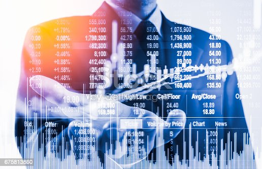 istock Double exposure business man on stock financial exchange. Stock market financial  indices on LED. Economy return earning. Stock market financial overview in market economy. Economy analysis background 675813860
