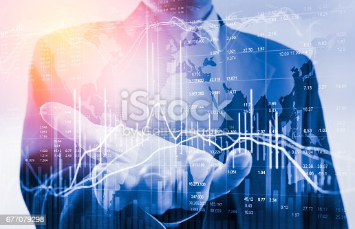 istock Double exposure business man on stock financial exchange. Stock market financial  indices on LED. Economy return earning. Stock market financial overview in market economy. Economy analysis background 677079298