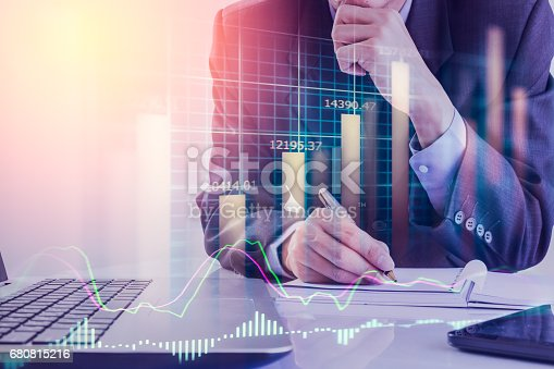 675469650 istock photo Double exposure business man on stock financial exchange. Stock market financial  indices on LED. Economy return earning. Stock market financial overview in market economy. Economy analysis background 680815216