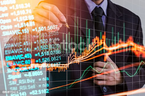 istock Double exposure business man on stock financial exchange. Stock market financial  indices on LED. Economy return earning. Stock market financial overview in market economy. Economy analysis background 680815474