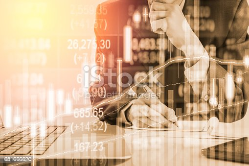 istock Double exposure business man on stock financial exchange. Stock market financial  indices on LED. Economy return earning. Stock market financial overview in market economy. Economy analysis background 681666620