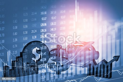 675469650 istock photo Double exposure business man on stock financial exchange. Stock market financial  indices on LED. Economy return earning. Stock market financial overview in market economy. Economy analysis background 683885280