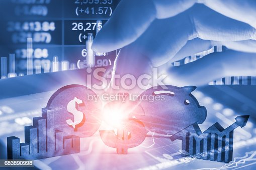 istock Double exposure business man on stock financial exchange. Stock market financial  indices on LED. Economy return earning. Stock market financial overview in market economy. Economy analysis background 683890998