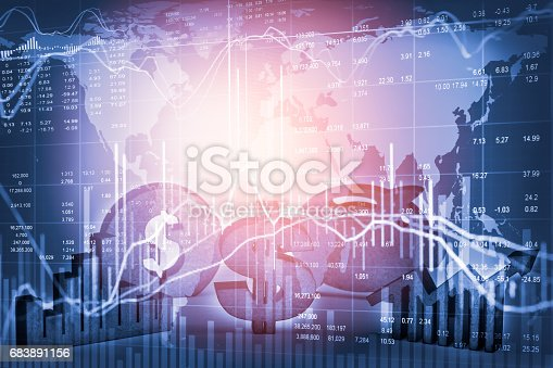 675469650 istock photo Double exposure business man on stock financial exchange. Stock market financial  indices on LED. Economy return earning. Stock market financial overview in market economy. Economy analysis background 683891156