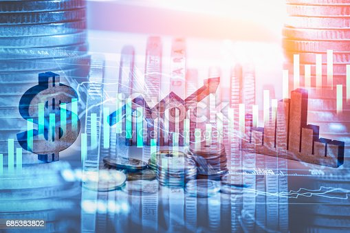 687520174istockphoto Double exposure business man on stock financial exchange. Stock market financial  indices on LED. Economy return earning. Stock market financial overview in market economy. Economy analysis background 685383802