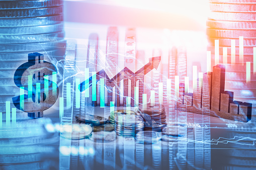 807152606 istock photo Double exposure business man on stock financial exchange. Stock market financial  indices on LED. Economy return earning. Stock market financial overview in market economy. Economy analysis background 685383802