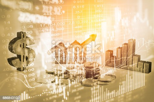 675469650 istock photo Double exposure business man on stock financial exchange. Stock market financial  indices on LED. Economy return earning. Stock market financial overview in market economy. Economy analysis background 686843102