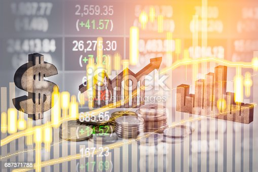 675469650 istock photo Double exposure business man on stock financial exchange. Stock market financial  indices on LED. Economy return earning. Stock market financial overview in market economy. Economy analysis background 687371788