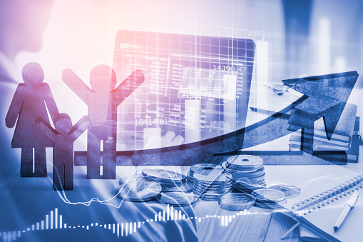 807152606 istock photo Double exposure business man on stock financial exchange. Stock market financial  indices on LED. Economy return earning. Stock market financial overview in market economy. Economy analysis background 687893204