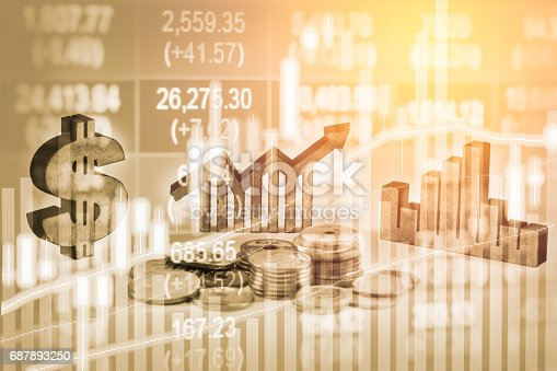 istock Double exposure business man on stock financial exchange. Stock market financial  indices on LED. Economy return earning. Stock market financial overview in market economy. Economy analysis background 687893250