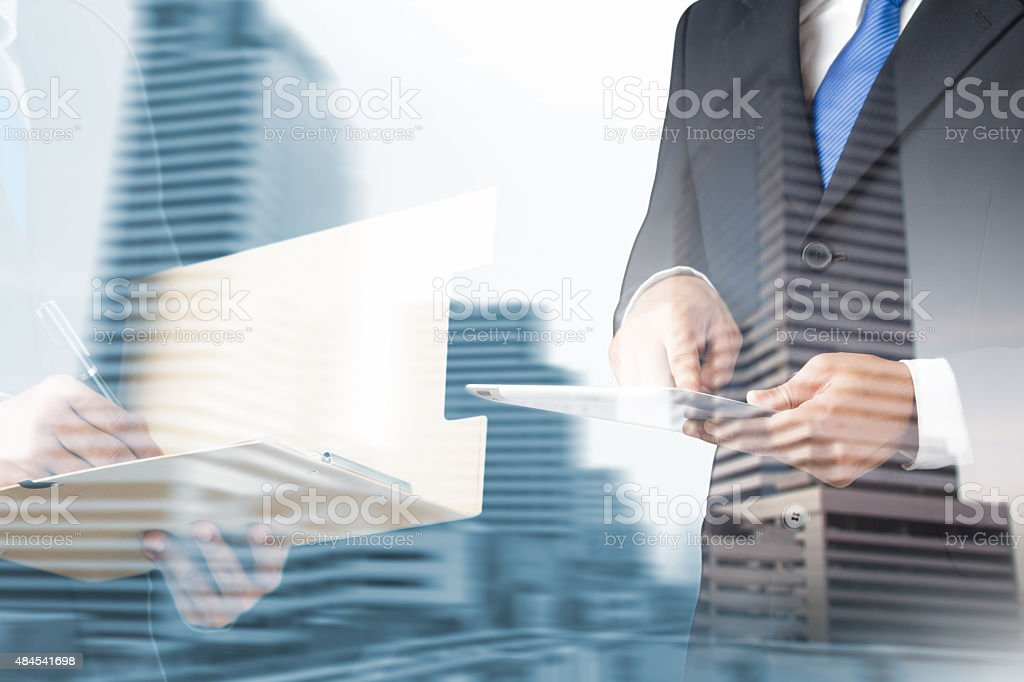 double exposure business man stock photo