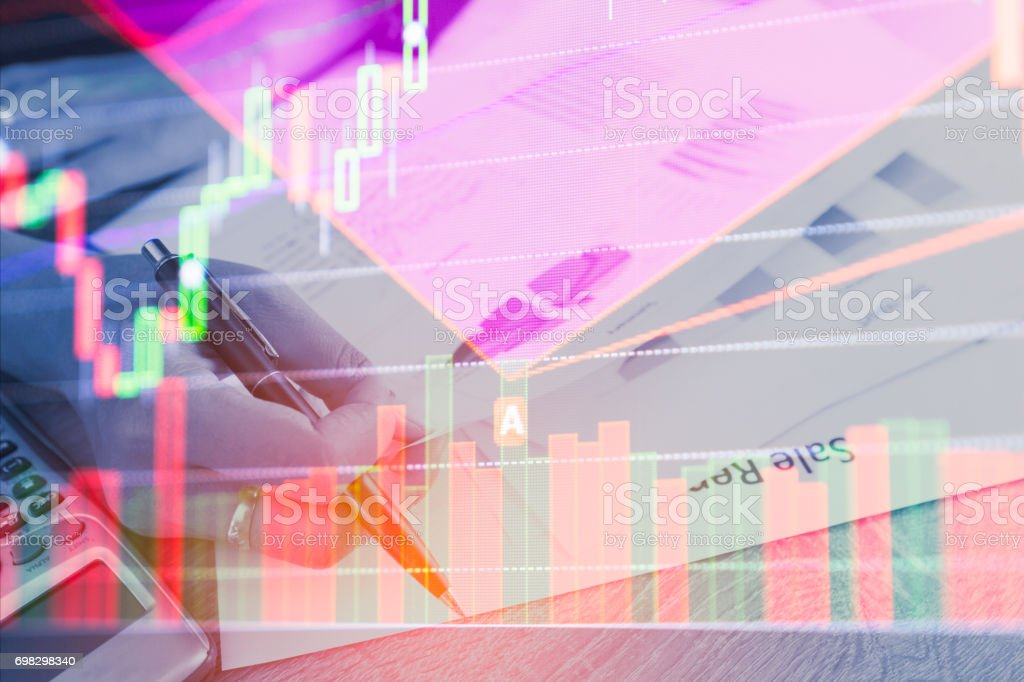 Double exposure business people counting making document on stock market financial chart. Stock markets financial or Investment strategy background Business chart concept stock photo
