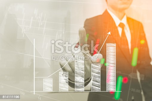istock Double exposure business people . Stock markets financial or Investment strategy 814111196