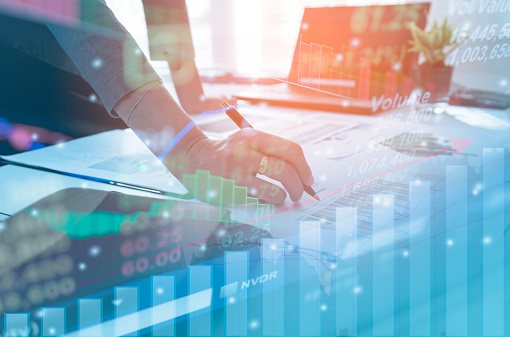 istock Double exposure business people working at office. Stock markets financial or Investment strategy, Candle stick graph chart of stock market investment trading 858031152