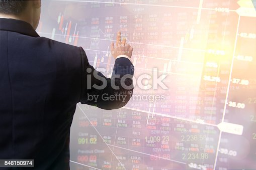 821678930 istock photo Double exposure business peoplehand touching data financial exchange. Stock markets financial or Investment strategy background Business chart concept 846150974