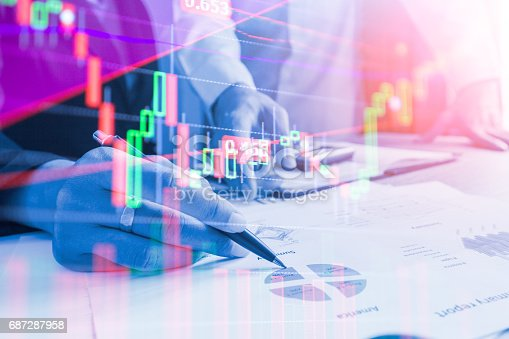 687520174istockphoto Double exposure business team meeting Stock markets financial or Investment strategy background Business chart concept 687287958