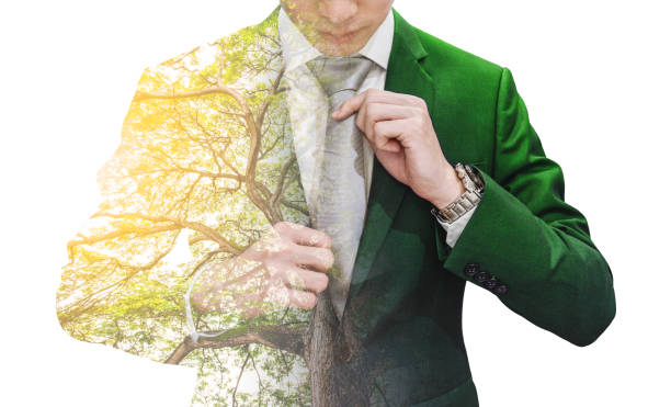 Double exposure businessman in green suit with big tree and sunlight stock photo