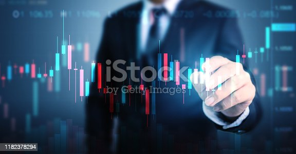 611747524istockphoto Double exposure businessman pointing line dot graph. Technical price candlestick chart graph and indicator stock online trading 1182378294