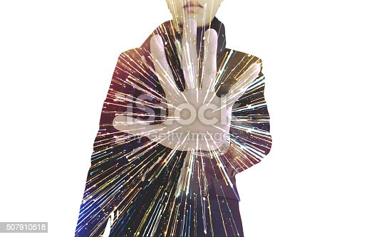 istock Double exposure, businessman showing palm, with speed light motion, isolated 507910518