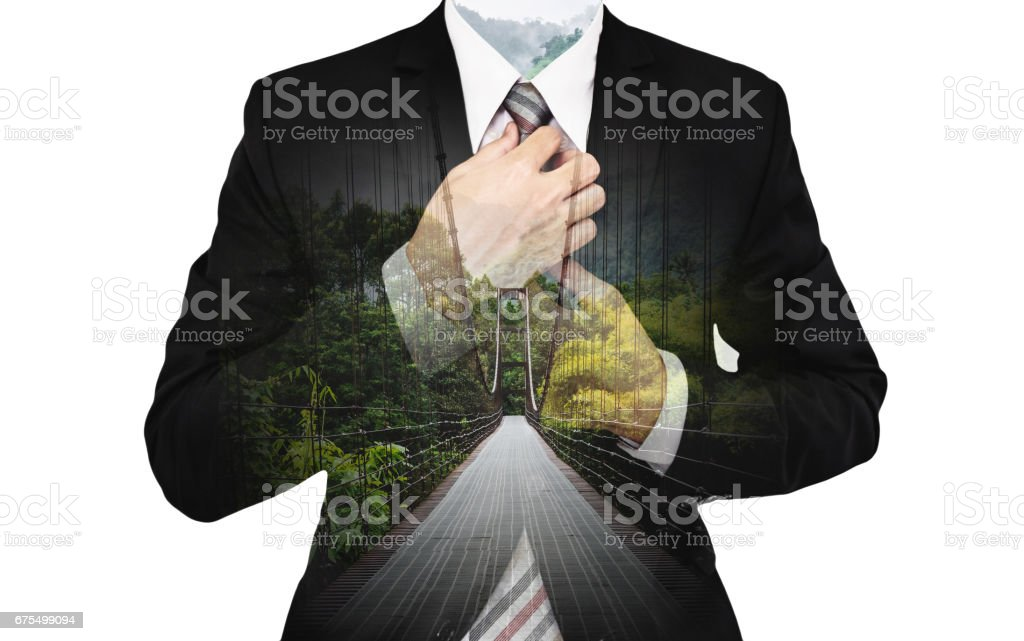 f54d29e2e70e8 Double Exposure Businessman with bridge way and green forest, on white  background - Stock image .
