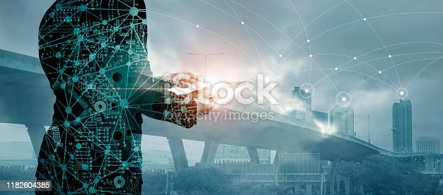 823686906istockphoto Double exposure, Circuit board server, Businessman using tablet with global network and data exchanges customer network connection on city background, Business innovation and technology concept. 1182604385