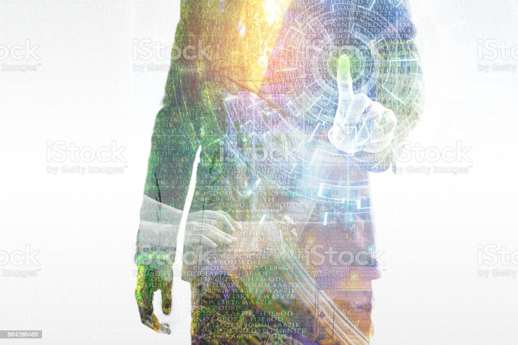 Double exposure. Close up young businessman touching opening data Information Technology Virtual Futuristic, with working on laptop and nature cityscape royalty-free stock photo