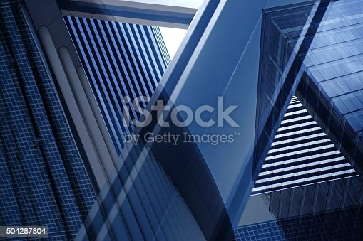 istock Double exposure close-up of architectural fragment with complex geometric structure 504287804
