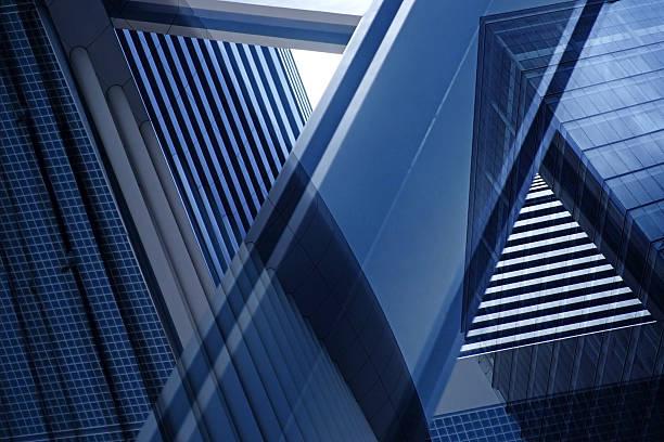 Exposição Dupla close-up de um complexo arquitetônico fragment com geometria de estrutura - foto de acervo