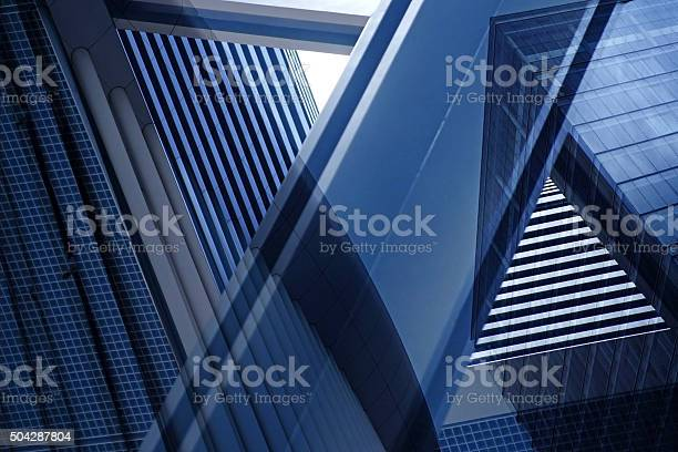 Double exposure close-up photo of contemporary architectural detail. Realistic (but nor real) photograph of modern building part. Abstract architectural composition with complex geometric structure.