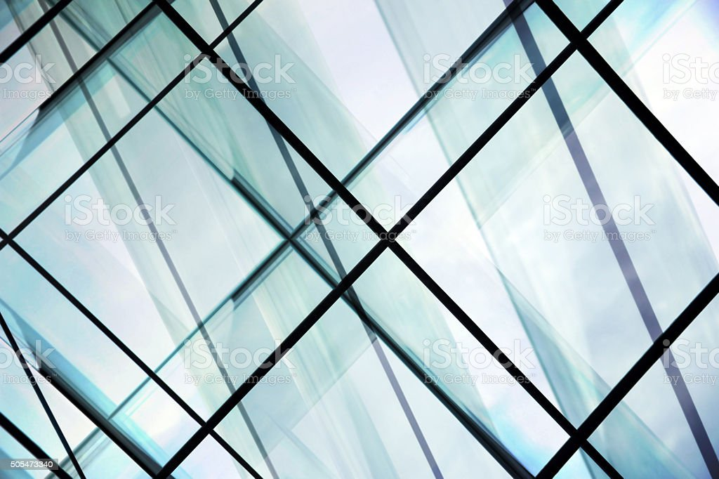 Double exposure close-up of structured glass / glazed aluminum structure stock photo