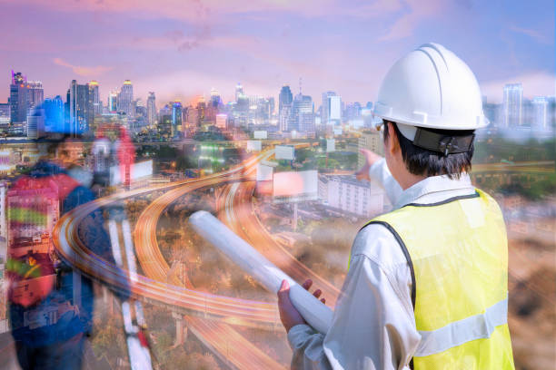 double exposure construction engineer holding construction drawing with foreman worker checking construction site - civil engineer stock photos and pictures