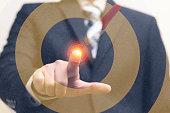 istock Double exposure dart target with arrow on bullseye with businessman 641247958