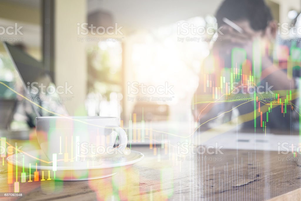 Double Exposure Disappointment investment Financial investment C stock photo
