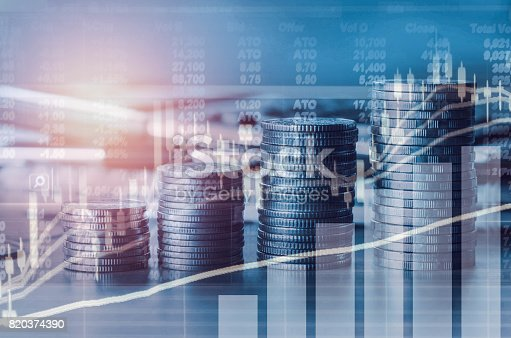 istock Double exposure financial indices and stock market in accounting market economy analysis with graph business concept background 820374390
