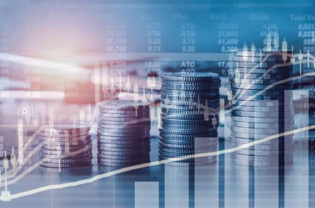 indici finanziari a doppia esposizione e mercato azionario nell'analisi dell'economia di mercato contabile con background del concetto di business grafico - mercato luogo per il commercio foto e immagini stock