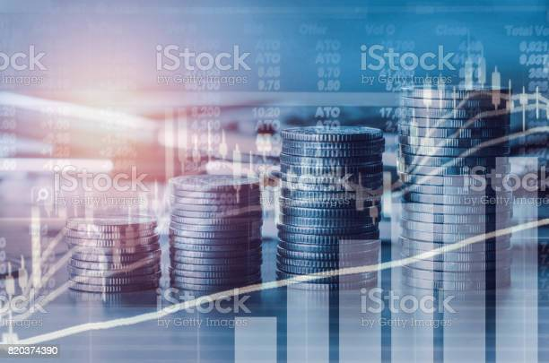 Double exposure financial indices and stock market in accounting market economy analysis with graph business concept background