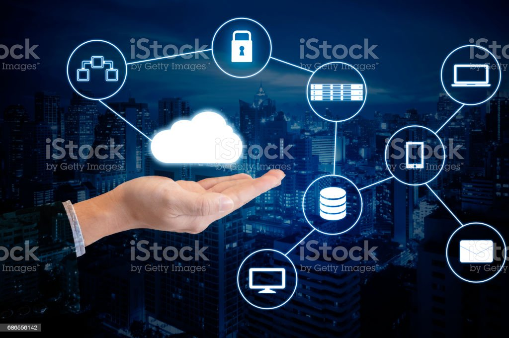Double exposure hand of professional businessman connected internet and wireless network with his smart phone and city of business background in business trading and technology concept royalty-free stock photo