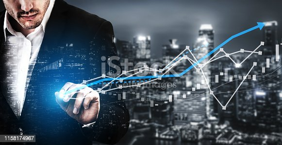 istock Double Exposure Image of Business Profit Growth 1158174967