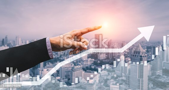 istock Double Exposure Image of Business Profit Growth 1159121026