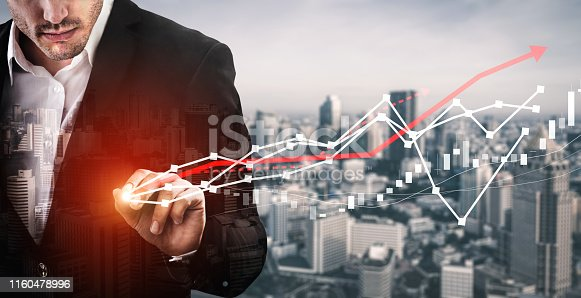 istock Double Exposure Image of Business Profit Growth 1160478996