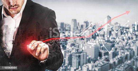 istock Double Exposure Image of Business Profit Growth 1165968564