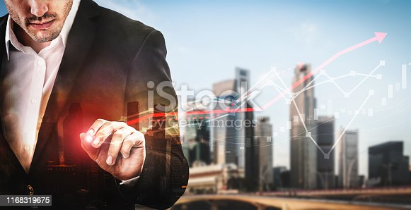 istock Double Exposure Image of Business Profit Growth 1168319675