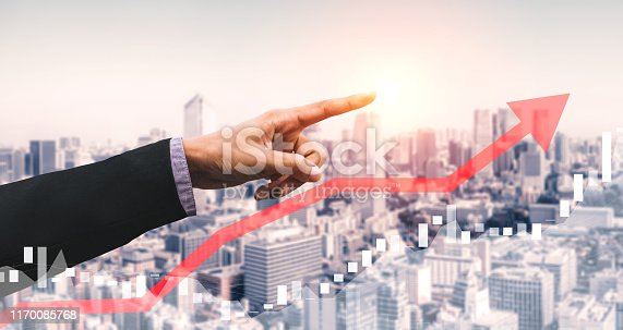 istock Double Exposure Image of Business Profit Growth 1170085768
