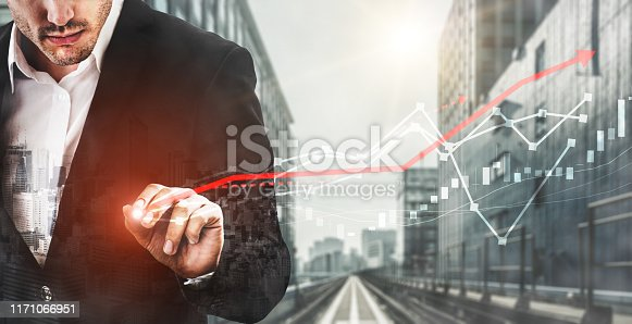istock Double Exposure Image of Business Profit Growth 1171066951
