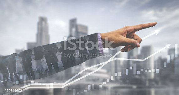 istock Double Exposure Image of Business Profit Growth 1172641602