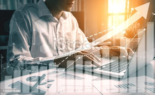 Double Exposure Image of Business and Finance - Businessman with report chart up forward to financial profit growth of stock market investment.