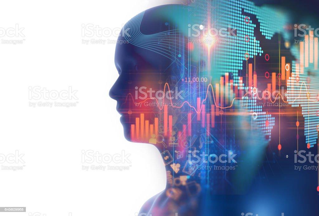 財務グラフと仮想の人間 3dillustration の二重露光イメージ ロイヤリティフリーストックフォト