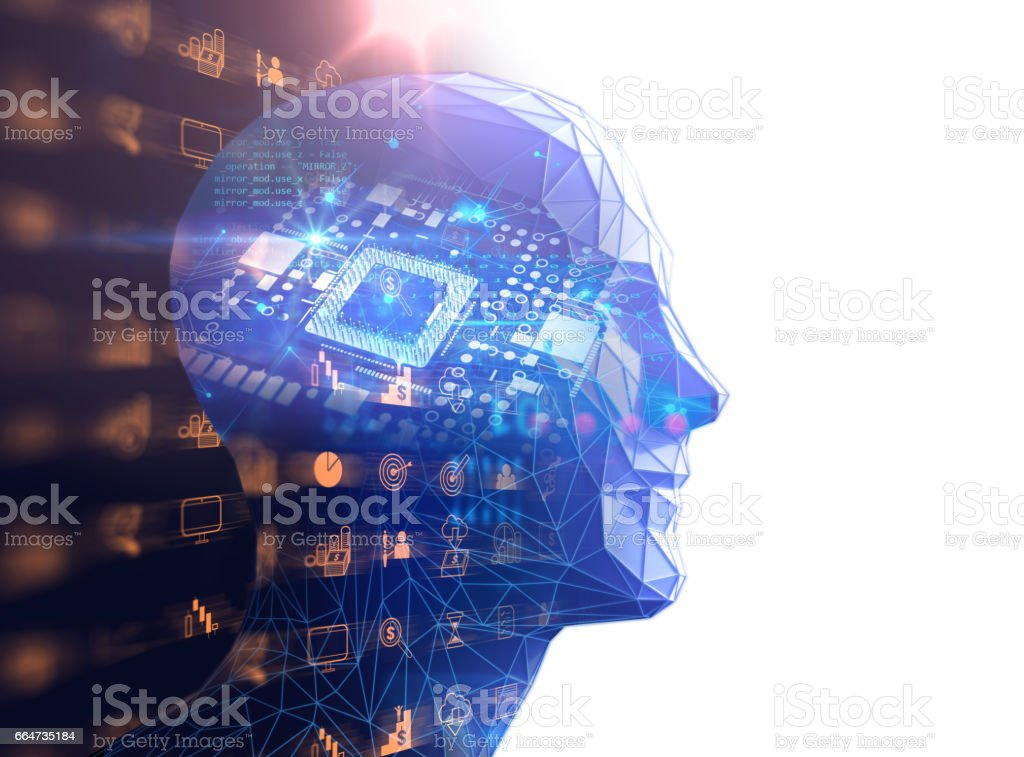 double exposure image of low polygon human head 3d illustration stock photo