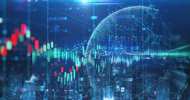 double exposure image of stock market investment graph and city skyline scene. - scambio commerciale foto e immagini stock